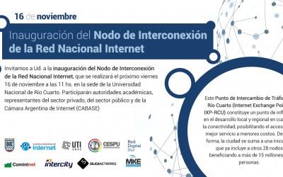 CABASE inaugura en Río Cuarto un punto de interconexión regional a Internet